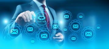 Prata begreppet för teknologi för internet för affären för den botrobotdet online-prata kommunikationen royaltyfri illustrationer