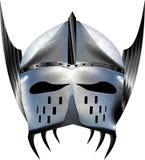 Prata brilhante azul do capacete medieval da fantasia com asas Foto de Stock