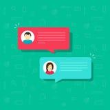 Prata bubblasymbolsvektorn, plana meddelandebubblor med mannen och kvinnasymboler, idé av internetdialogen, kommunikation Arkivfoto