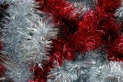 Prata do ouropel do Natal e textura vermelha Imagem de Stock