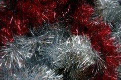Prata do ouropel do Natal e textura vermelha Fotografia de Stock Royalty Free
