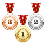 Prata do vencedor, bronze e medalhas de ouro Foto de Stock Royalty Free