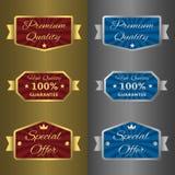 Prata e etiquetas douradas Imagem de Stock