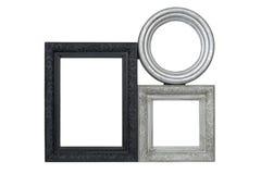 Prata e molduras para retrato cinzeladas preto ajustadas Imagem de Stock Royalty Free