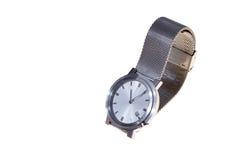 A prata equipa o relógio Fotografia de Stock