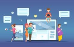 Prata för folk Manlig kvinnlig datummärkning av vektorn för konversation för faktisk dialog för smartphonebärbar datorminnestavla stock illustrationer