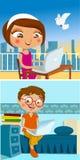 prata flicka för pojke royaltyfri illustrationer