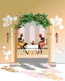 prata flickor för cafe Stock Illustrationer