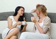 Prata för två kvinnavänner Royaltyfri Bild