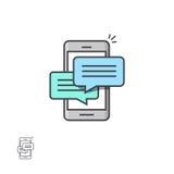 Prata meddelandemeddelanden på smartphonevektorsymbol, mobiltelefonsms som pratar bubblaanföranden stock illustrationer