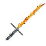 Prata medieval da espada da fantasia com punho agradável e a lâmina afiada imagem de stock royalty free