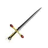 Prata medieval da espada da fantasia com punho agradável e a lâmina afiada Fotografia de Stock