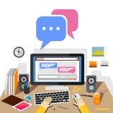Prata på den sociala websiten eller social massmediaapplikation med skrivbordet Prata begreppsillustrationen vektor illustrationer