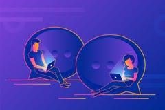 Prata samtalbegreppsillustrationen av ungdomarsom använder bärbara datorer för överföring av meddelanden stock illustrationer