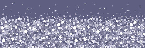 A prata sparkles teste padrão sem emenda horizontal Imagens de Stock Royalty Free