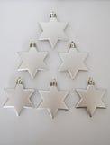 A prata stars a árvore de Natal Fotografia de Stock Royalty Free