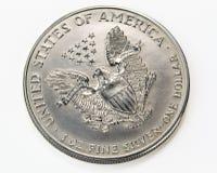 Prata um macro da moeda do dólar Fotos de Stock