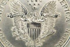 Prata um macro da moeda do dólar Fotografia de Stock Royalty Free