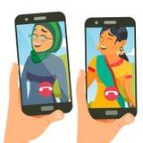 Prata vektorn Talande design social massmediaservice Smartphone On-line pratstund App Talande flicka Isolerat framlänges royaltyfri illustrationer