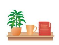 Prateleira com planta, copo e diário Imagem de Stock Royalty Free