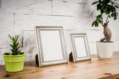 Prateleira com quadros e flores Foto de Stock