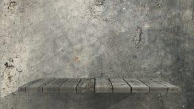prateleira 3D de madeira velha em uma parede do grunge ilustração do vetor
