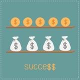 Prateleira de madeira com sacos do dinheiro, moedas, sucesso da palavra e sig do dólar ilustração royalty free