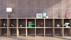 Prateleira de madeira com vasos, livros e lâmpada Imagem de Stock