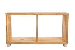 Prateleira de madeira do módulo isolada no fundo branco fotografia de stock