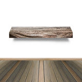 Prateleira de madeira para o fundo Fundo para o conceito da exposição do produto Fotografia de Stock Royalty Free