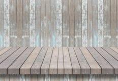Prateleira de madeira para o fundo Fundo para o conceito da exposição do produto Foto de Stock