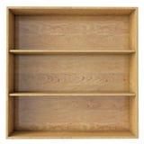 Prateleira de madeira vazia isolada no fundo branco Imagem de Stock
