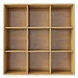 Prateleira de madeira vazia isolada no fundo branco Foto de Stock Royalty Free