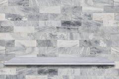 a prateleira e a pedra de mármore superiores brancas pavimentam o fundo da textura, podem Imagem de Stock