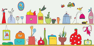 Prateleira engraçada da cozinha com utensílios Fotos de Stock Royalty Free