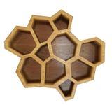 Prateleira sextavada de madeira vazia abstrata, isolada no fundo branco Imagens de Stock Royalty Free