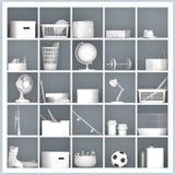 Prateleiras brancas com objetos relacionados home diferentes Imagem de Stock