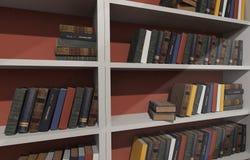 Prateleiras brancas enchidas com os livros fotografia de stock