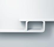 Prateleiras brancas no modelo da parede 3d Imagem de Stock