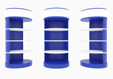 Prateleiras circulares azuis Fotografia de Stock Royalty Free