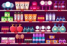 Prateleiras com cosmético da mulher, mostra do salão de beleza ilustração stock