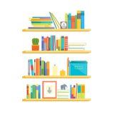 Prateleiras com livros coloridos Vetor ilustração stock