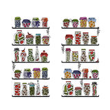Prateleiras com os frascos da salmoura para seu projeto Foto de Stock Royalty Free