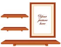prateleiras da madeira do frame e da cereja de retrato de +EPS Imagem de Stock