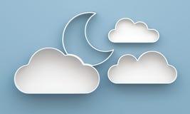 prateleiras da nuvem 3D e da lua e projeto da prateleira ilustração do vetor