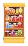 Prateleiras de loja com doce ilustração stock