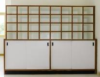 Prateleiras de madeira brancas Imagem de Stock Royalty Free