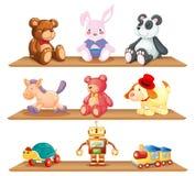 Prateleiras de madeira com brinquedos diferentes ilustração stock