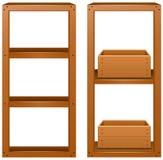 Prateleiras de madeira com caixas de madeira Imagens de Stock Royalty Free