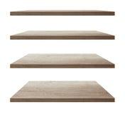 Prateleiras de madeira do vetor em um branco isolado ilustração stock